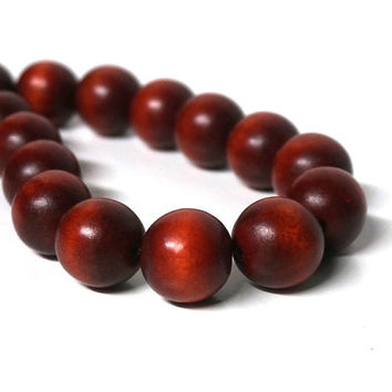wood beads, 20mm rust brown, round eco-friendly wooden beads (1037R)