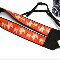 Gifts For Her. Lucky Elephants Camera Strap.   Orange Camera Strap. Soft Camera Strap. Accessories