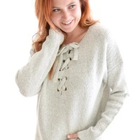 Lace-Up Sweater In Gray