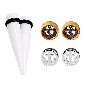 6PC Ear Gauge Plugs Set Stainless Steel Wood Anchor Tunnels and Tapers Stretching Kit 12mm-20mm