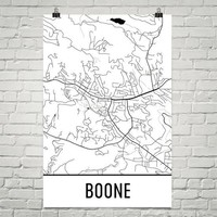 Boone NC Street Map Poster