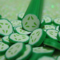 Cucumber polymer clay cane uncut 1pcs for miniature foods salad topping sandwhiches decoden and nail art supplies