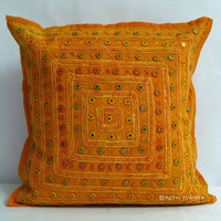 """16"""" Orange Ethnic Indian Decorative Cushion Pillow Cover Mirror Work Embroidery"""