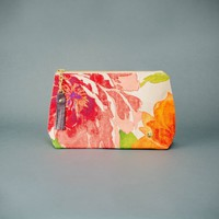 Handmade Floral Makeup Bag Made from Outdoor Fabric and Lined with Re-purposed Sail Material, Made in the USA