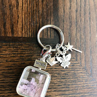 Rose Quartz Square Wishing Bottle, WISH, Princess Crown, Cute Wand, Angels Watching Over Me  Keyring/ Keychain with FREE Bag & Msg Card.