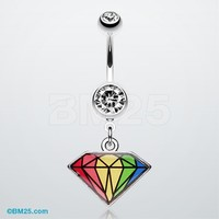 Prism Rainbow Diamond Belly Ring