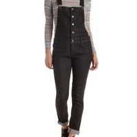 Black Button-Up Denim Overalls by Charlotte Russe