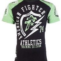 Licensed Official AMERICAN FIGHTER Mens T-Shirt FLASHPOINT Athletic BLACK GREEN Biker Gym UFC $40