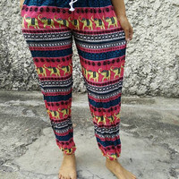 Slim cut legs elephants ethnic Hippies boho aztec printed Yoga Exercise Pants hobo Style Gypsy Clothing Beach Summer Trousers Bohemian Pink
