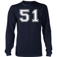 Men's Vintage Sports Jersey Number 51 Long Sleeve T-Shirt for Fan or Player #51