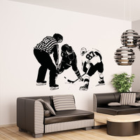 Vinyl Wall Decal Sticker Hockey Puck Drop #5091