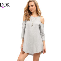 DIDK Ladies Summer Casual Tops New Arrival Womens Grey Crew Neck Cold Shoulder Three Quarter Length Sleeve Casual T-Shirt