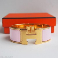 Authentic HERMES Clic Clac Wide PM Bracelet H Baby Pink Rose Gold Bangle Enamel