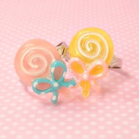 2 Lolita Fairy Kei Candy Rings Pastel Colored Lollipops Polka Dot Bow - Sweet Deal