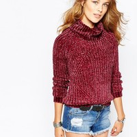 Stitch & Pieces   Stitch & Pieces Chenille Roll Neck Sweater at ASOS