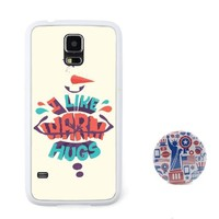 """Euclid+ -""""I like Warm Hugs"""" Frozen Cartoon Embossed Design Style Plastic+TPU Case Cover for Samsung Galaxy S5 with American Style 2.3'' Inch Pinback Button Badge"""