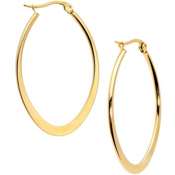 40mm Gold Tone PVD Stainless Steel Oval Hoop Earrings