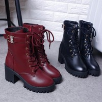 Lace-up Side Zip Ankle Boots up to Size 9 (25cm EU 40)