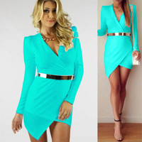 Womens Bandage Bodycon V Neck Asymmetric Evening Party Cocktail Mini Short Dress