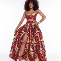 African Styles Bandeau Bra Top and Maxi Skirt