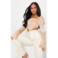 fhotwinter19 New style velvet puff sleeve halter neck tie square neck long sleeve cropped top
