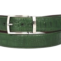 Leather Belt For Men - Crocodile Embossed Calfskin Leather Belt Hand-Painted Green