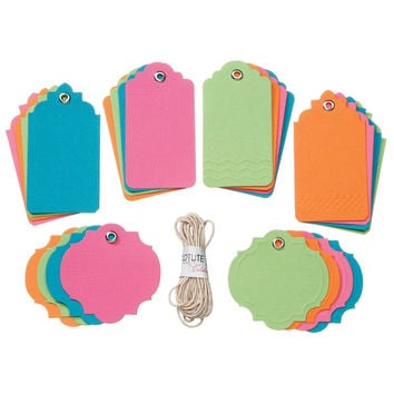 24 Blank Brightly Colored Gift Hang Tags, Assorted Shapes for Scrapbooks, Gifts, Etc