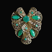 Art Deco Czech Green Glass Filigree Dress Clip, Fur, Scarf Clip