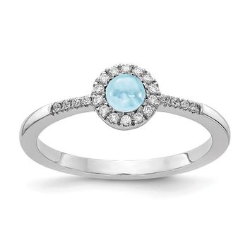 14k White Gold Diamond Halo And Round Aquamarine Cabochon Ring