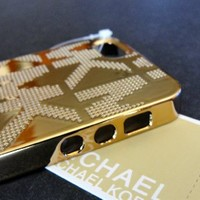 Michael Kors Mk Embossed Metallic Gold Iphone 5 or 5s Case Cover in Box/tags New
