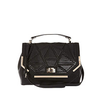 BLACK QUILTED FLAP OVER BAG