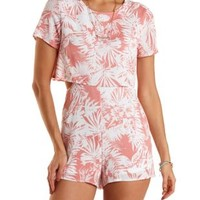 Layered Tropical Print Romper by Charlotte Russe