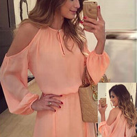 Long Sleeve Cut-out Shoulder Chiffon Mini Dress