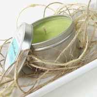 Soy Candle - Aloe Vera & Cucumber scented Soy Candle Tin -- 8 ounce Tin