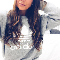 Adidas Fashion Print Pullover Tops Sweater Sweatshirts Gray