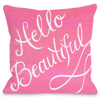 Hello Beautiful Script Pillow by Timree Gold