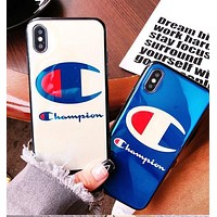 CHAMPION Cartoon character letters are all blue iphone 6/6s,iphone 6p/6splus,iphone 7/8,iphone 7p/8plus, iphonex