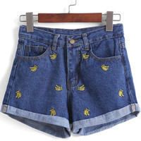 Navy Banana Embroidered Denim Shorts