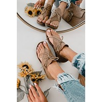 Chandler Faux Suede Micro Wedge Sandals (Taupe)