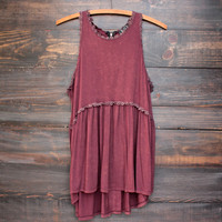 burgundy vintage acid wash high-low racer back tank