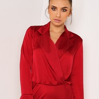 WINE SATIN PLUNGE FRONT SHIRT BODYSUIT