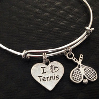 I Love Tennis on Expandable Adjustable Wire Bangle Bracelet Trendy Stacking Team Sport Coach Gift
