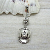 Antique silver cowgirl hat belly hing, country western belly ring ,trendy belly,country western,friendship belly button ring, unique gift