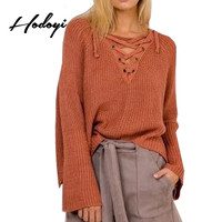 Hodoyi Orange Lace Up Oversize Knitted Jumpers Long Flare Sleeve Elegant Pullovers Sexy Drawstring Tie Cropped Short Sweaters