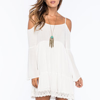 CHLOE K Crochet Trim Cold Shoulder Dress | Short Dresses
