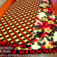 Red Christmas 14x84 Table Runner – Bow floral geometric deco