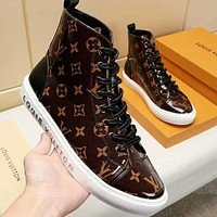Louis Vuitton LV Hot sale patent leather printed letters couple high-top casual shoes