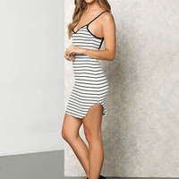 White and Black Stripe Low Back Dress