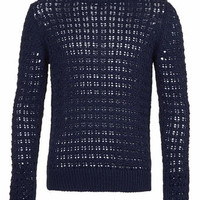 Navy Textured Tape Sweater - Men's Cardigans & Sweaters - Clothing