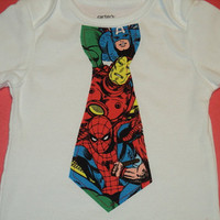 Superhero Baby Tie Onesuit, Made to order in Sizes 0 to 24Mo. Marvel Comics Infant Tie Onesuit, The Avengers, Spider-man, Captain America
